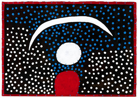 Ngarra, Larrkardi, 2005, synthetic polymer paint on paper, 50 x 70 cm, courtesy Indigenart, Mossenson Galleries, Perth and Melbourne.