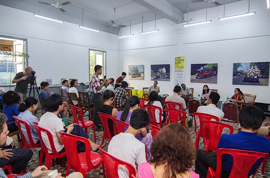 San Zaw Htway speaking at Contemporary Dialogues Festival in Lokanat, Yangon, October 5, 2014