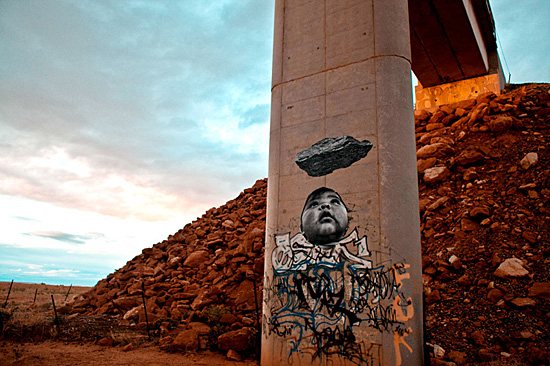 Fig. 8. Jetsonorama, Image created in 2011 for 350.org. Photographed here by the artist on a coal train abutment near Cow Springs, Arizona. Photo courtesy the artist.