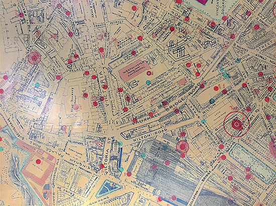 Fig. 1. Bomb Map Record of Incidents in the City of Westminster 1940-1945, Westminster City Archives.