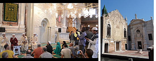 Figure 2: The Opening of Christoph Büchel's The Mosque (screenshot via Vimeo) and Church Santa Maria della Misericordia after the closing of the exhibition.