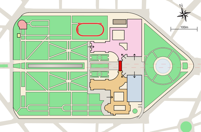 Diagram of Parc Cinquantenaire, Brussels, Belgium.