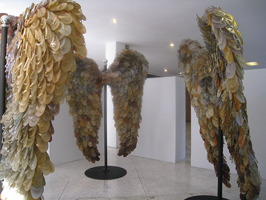Alfredo & Isabel AquilizanWings, 2009 (composed from used rubber thongs collected from Singapore Correctional Facility). Exhibited at Negotiating Home, History, Nation.