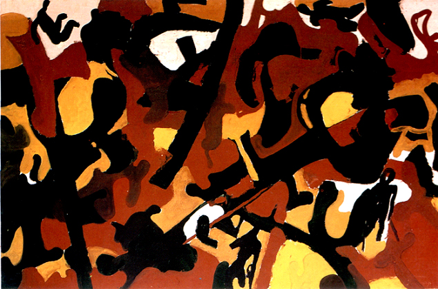 "Chandraguptha Thenuwara, ""Camouflage"", the painting introducing the ""Barrelism"" concept, 100 x 149,5 cm, 1997"