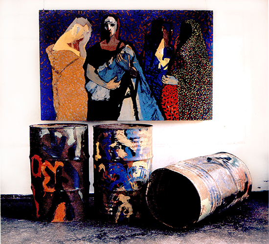"Chandraguptha Thenuwara, ""Women in Barrelistic Area"", acrylic on wood and three painted barrels, 1998."