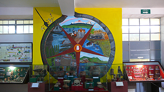 Interior of the Museum with a mural of Mariana Huerta